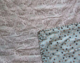 White I Love You Bear/Blue Polka Dot  Double-sided Flannel Baby/Toddler Blanket