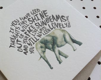 Letterpress Card - Elephant Roald Dahl Quote