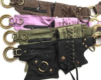 Canvas Lace Belt (cb-lace) : bumbag, vegan, fanny pack, pocket belt, sequin, festival, nomad, gypsy, moneybelt, burningman, sequin,