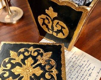 Vintage Florentine Two Piece Desk Set, SquareTrinket Box and Desk Caddy, Bold Black and Gold, Cherub Decoupage, Hollywood Regency, 60s,