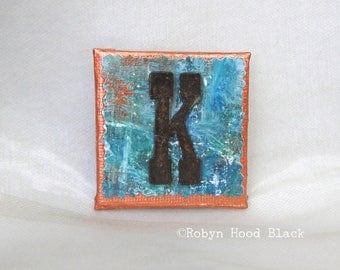 Rustic Letter K and Painted Verdigris Magnet 2 X 2
