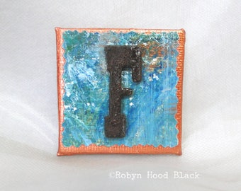 Rustic Letter F and Painted Verdigris Magnet 2 X 2