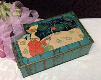 Stunning Antique Art Deco Tin Box, Pretty Lady Parasol, Teal Turquoise Trinket Box, Keepsake Box, 1920s Canco Vintage