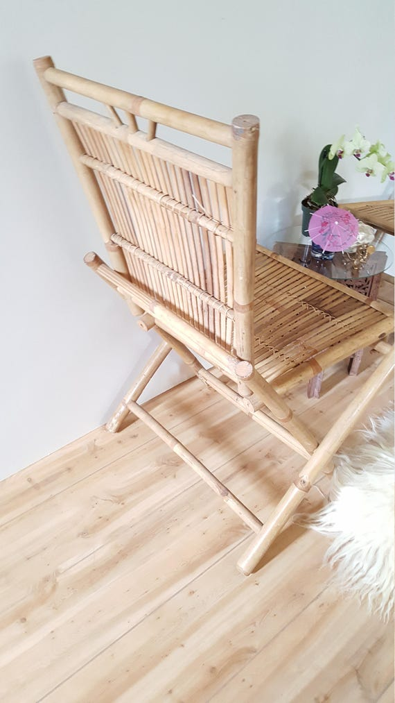 pair bamboo folding chairs vintage split reed accent chairs