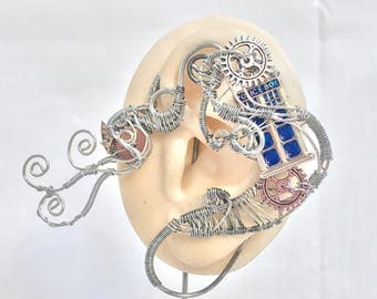 Steampunk TARDIS Ear Wrap - Left Ear