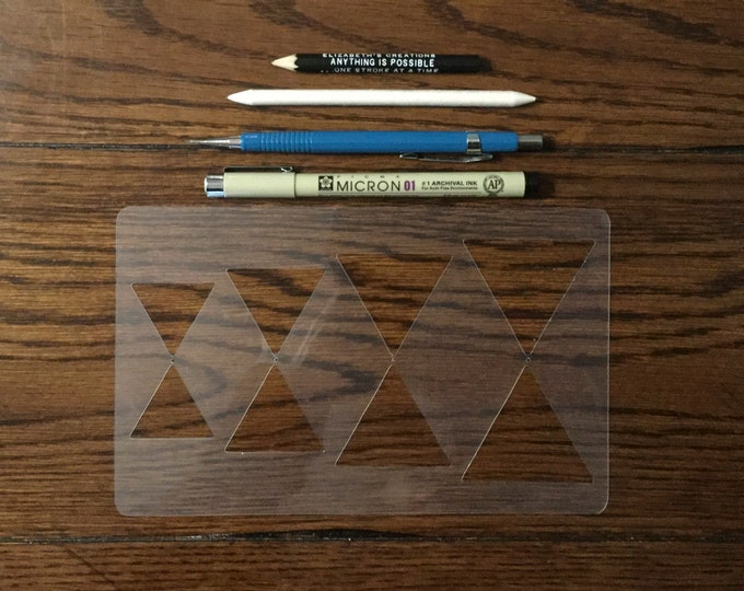 """Triangles to Hexagons Stencil (5"""" x 8"""") ~ 4 Sizes for All Journals, Postcards, Tiles, Greeting Cards, Drawing"""