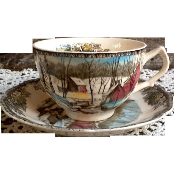 """Vintage Friendly Village Tea Cup Set, """"The Ice House"""", Johnson Brothers, Tea Cup, England, Serving, English Tranferware, Forest, Trees"""