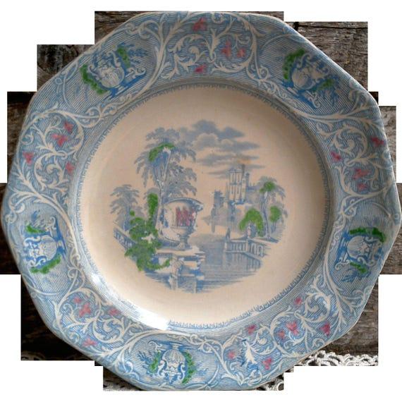 """Antique Blue Transferware Plate, Soft Paste, Mellor, Venables & Co., """"Medici"""", Hand Coloring Polychrome"""