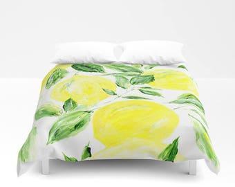 Lemon Duvet Cover, leaf duvet cover, botanical duvet, green white duvet, palm duvet cover