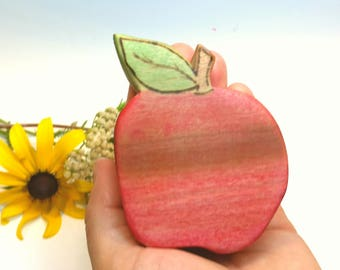 Wooden Gala Apple Play Food // Waldorf Inspired Wooden Toy Produce Apple // Play Kitchen // Play Food // Natural Kitchen Play
