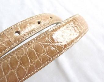 Barry Kieselstein-Cord Tan Light Brown American Alligator Strap Belt Keiselstein