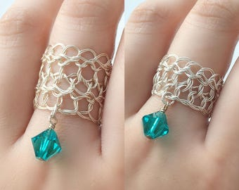 Size 14 Sterling Silver Dangle Rings | December birthstone blue zircon crystal | Wire silver jewelry rings