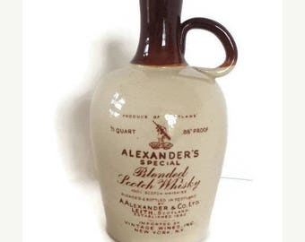 Stoneware, Flagon Jug, Made in Scotland, Whisky Crock, Rare, Alexander's Blended Scotch Whisky,  Imported Jug, Inc. N.Y, N.Y. 4/5 quart