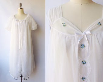 1960s White Double Layer Chiffon Peignoir Set | Vintage 60s Nightgown and Robe Set | Womens Lingerie Sleepwear Small