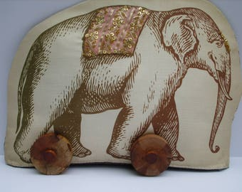 Plush Elephant Soft Sculpture Textile Art On Wheels Ornament. 'Printed Animal'  Series....No. 1