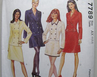 Vintage McCalls 7789 Suit Sewing Pattern - Never Used - Misses Size 4, 6, 8 Double-Breasted Jacket, A-Line Skirt Pattern - Sewing Supplies