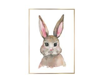 Art Print watercolor rabbit