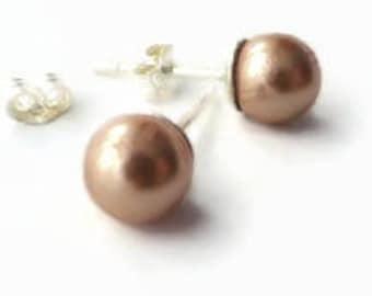 Apricot Swarovski pearl earrings, pearl studs, silver earrings UK, apricot post earrings, earrings for children, pearl stud earrings