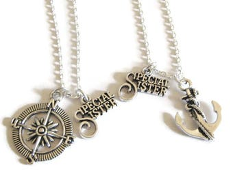 2 Sisters Necklaces, 2 Special Sisters Anchor And Compass Necklaces, Anchor Necklaces, Sisters Necklaces, Two Sisters Necklaces