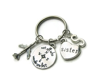 Not All Who Wander Are Lost Sister Keychain, Airplane Keychain, Sister Keychain, Keychain For Sister, Travel Keychain, Personalized