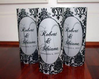 Monogram Luminaries set of 10, Monogram Wedding Decor, Damask Wedding, Personalized Wedding Decor, personalized luminaries