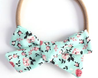 Floral Hand Tied Bow, Alligator Clip, School Girl Bow, Big Girl Bows, Infant Bow, Hair Accessories, Valentine's Day Bow
