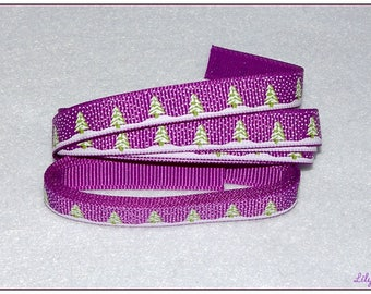 1 meter of Ribbon purple tree and snowflake 10mm
