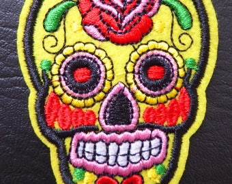 Embroidered patch fusible skull skull candy skull pinup 5.3 x 7.1 cm yellow x 1