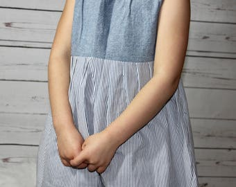 Size 5 Blue and White Twirl Dress / Back to School