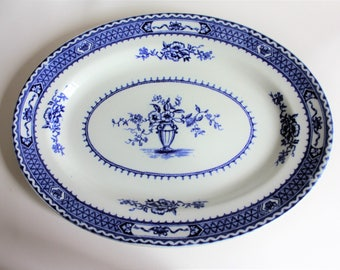 Antique Flow Blue Woods & Sons Oval Plate, Platter. Warwick Pattern/1900's