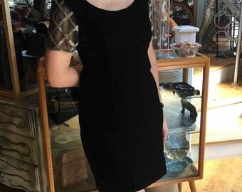 Vintage 90's Black Velvet and Gold Dress, Women's Size 10
