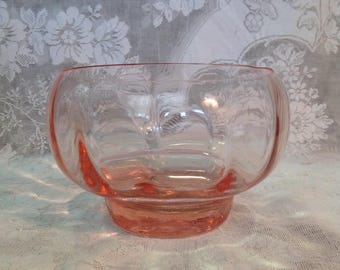 Hand blown pink optic glass rose bowl vase centerpiece wedding romantic cottage chic home decor