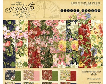 Graphic 45 8x8 Papaercrafting Paper Pad - Floral Shoppe