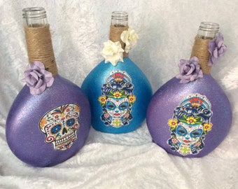 Day of the Dead Sugar Skull Painted and Decorated Bottles