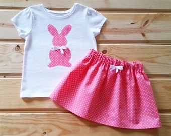 Girls easter gift etsy girl pink polka dot easter bunny outfit girl easter outfit toddler girl easter outfit negle Choice Image