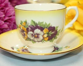 "TAYLOR and KENT Bone China Teacup and Saucer ""Pansies"""