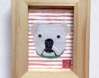 Bulldog Art, White English Bulldog, Bulldog Gift, ACEO, Original