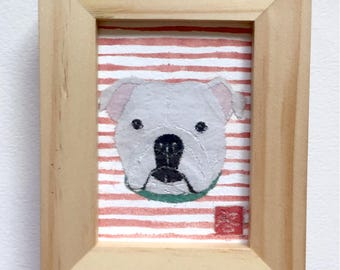 Framed or Unframed, Original Bulldog Art, English Bulldog Gift, ACEO