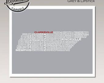 Tennessee Art Print, Tennessee Wall Art, Tennessee Typography Map Print, Tennessee Typographic Map, Tennessee Poster, Tennessee Unique Gift
