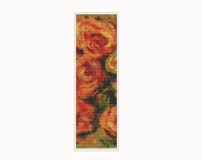 Bookmark Cross Stitch Pattern PDF, Embroidery Chart, Art Cross Stitch, Stitch Bookmark, Armful of Roses by Pierre-Auguste Renoir (BK23)