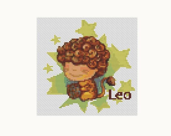Cross Stitch Pattern PDF, Embroidery Chart, Zodiac Cross Stitch, Astrology, Horoscope, Zodiac Series: Leo (TAS080)