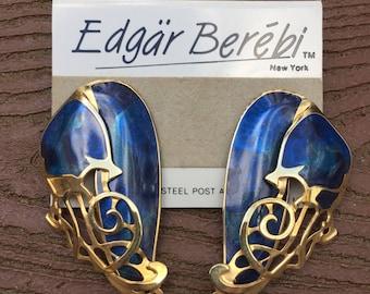 Stunning Vintage Edgar Berebi Runway Earrings New on Card Blue & Gold