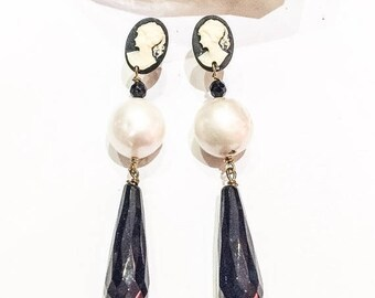 SALE Freshwater Pearl and Onyx Earrings with Cameo Studs