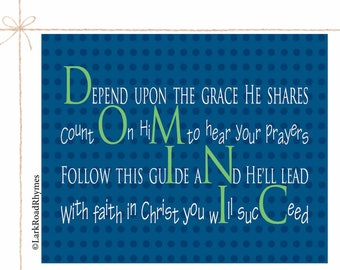 Baptism Gifts For Godchild Baby Boy Baptism Gift Christening Gifts Christian Gifts Religious Baby Gift Personalized Name Poem 8x10 Dominic