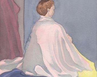 Woman Sitting With Her Back Turned Watercolor Painting One of A Kind