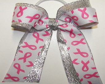 12 Bows Bulk Price, Cheap Pink Breast Cancer Bows, Pink Silver Ponytail Holder Bow, Cheer Bow, Softball Bow, Volleyball Bows, Pink Team Bows