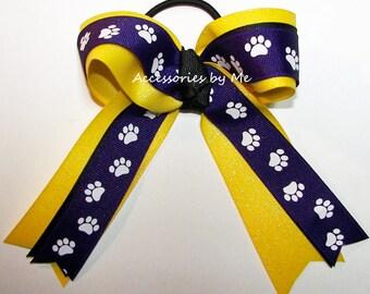 Purple Paw Print Bow, Purple Gold Bulldog Cheer Bow, Purple Gold Soccer Bow, Purple Yellow Softball Bow, Lion Team Bow, Purple Wild Cat Bows