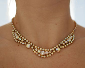 Vintage rhinestone gold collar necklace wedding 60s aurora borealis crystals claw set