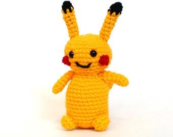 Pikachu crochet, Pokemon , Amigurumi Pikachu,  plush toy Ready to Ship