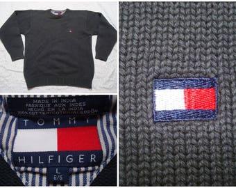 Vintage Retro Men's 90's Tommy Hilfiger Sweater Dark Green Knit Crewneck Large